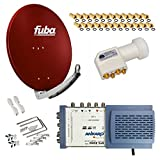 HB-Digital SET: FUBA 8 Teilnehmer Digital SAT Anlage 78cm DAA780R + hochwertiger LNB 0,1dB FULL HDTV 4K + 5/8 Multischalter + 24 Vergoldete F-Stecker Gratis dazu