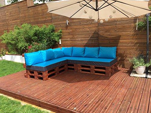 Palettenkissen Palettenauflage Sitzkissen Palettensofa Kissen Paletten Polster (Sitzkissen 120x80x15 cm, Türkis) - 3
