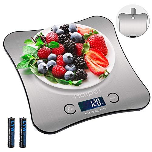 Küchenwaage Haipei Digital Küchenwaage, 5000 g x 1g Hangable Backen Digitalwaage, 4 Modi (g/oz/ml/lb: oz),Tara-Funktion,Auto-Off, einschließlich 2 Batterien