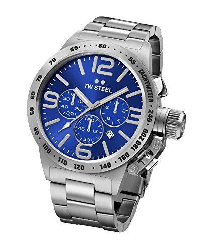 TW Steel Canteen Bracelet CB14 - Mouvement Quartz - Affichage Chronographe - Argent et Cadran Bleu - Mixte