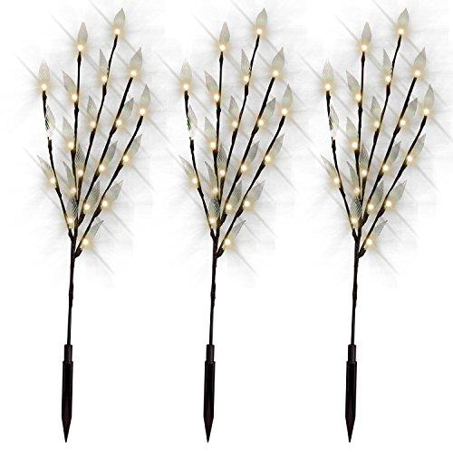 TOOGOO 60 LED Zweig Blatt Baum Solar Power Lights Garten Weg Patio Grenzen (Warmweiss) -