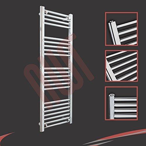 400mm (w) x 1200mm (h) - Radiateur sèche-serviettes plat chromé Barre Horizontale Diamètre: 22mm, Bar Modèle: 4 + 5 + 6 + 7