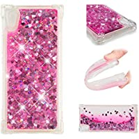 SHYHONG Kompatibel Sony Xperia XA1 Hülle+5D gehärtetem Glas Dynamischer Treibsand Transparent TPU Silikon Handyhülle Vier Eckluftkissen Schutzhülle Anti-Shock Bumper Cover(Rosa)
