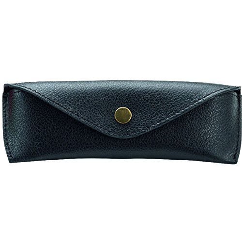 Alassio Brillen - Etui aus echtem Leder, klein, ca. 16 x 5,5 x 3 cm Taschenorganizer, 16 cm, Schwarz