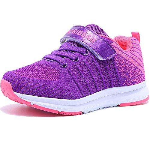 Hallenschuhe Kinder Turnschuhe Jungen Sport Schuhe Mädchen Kinderschuhe Sneaker Outdoor Laufschuhe für Unisex-Kinder Violett,29 EU=30 CN