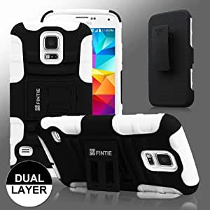 Fintie Samsung Galaxy S5 Case - Guardian Series Dual Layer Holster with Kickstand and Belt Swivel Clip for Galaxy SV 2014 Smartphone, Black/White