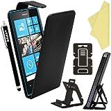 BAAS® Coque Nokia Lumia 520 Noir Etui Cuir Clapet Housse + Film de Protection d'Ecran + Stylet Pour Ecran Tactile Capacitif