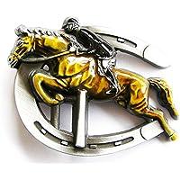 Fibbia fantino, equitazione, ferri di cavallo -