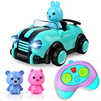 BeebeeRun Girls Toys for 2 Year Old ,Remote Control Car Toys for Kids, 3 dolls,RC Car Toy with Music and Lights