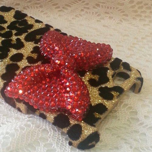 D9Q Bling Crystal Strass Leopard Schale Tasche Case Hülle für iPhone 5 5 s !Schwarz
