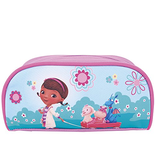 Estuche escolar Niña Doctora Juguetes - Bolsa para lapices con cremallera Doc McStuffins - Practico estuche portatodo para la escuela - Azul Rosa - 9x20x8 cm - Perletti