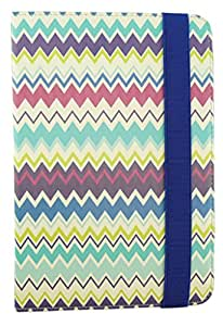 Emartbuy® Universal Range Multi ZigZag Multi Angle Executive Folio Wallet Case Cover For D-Link D100 7 Inch Tablet
