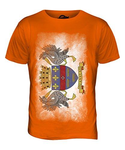 CandyMix Saint-Barthélemy Verblichen Flagge Herren T Shirt Orange