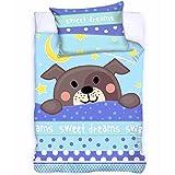 Baby Bettwäsche Kinderbettwäsche 100x135/40x60cm Kleinkind Motiv Hündchen 2-teilige Garnitur für Kinderbett Bett- und Kissenbezug