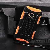 HTC One M7 Funda, Cocomii Robot Armor NEW [Heavy Duty] Premium Belt Clip Holster Kickstand Shockproof Hard Bumper Shell [Military Defender] Full Body Dual Layer Rugged Cover Case Carcasa (Orange)
