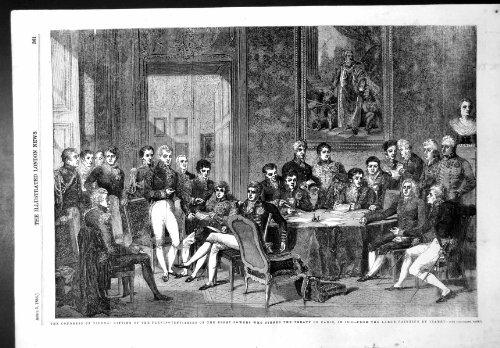 Antiker Druck Bevollmächtigt-Energie-Vertrags Paris1856 Kongress-Wiens des sitzenden