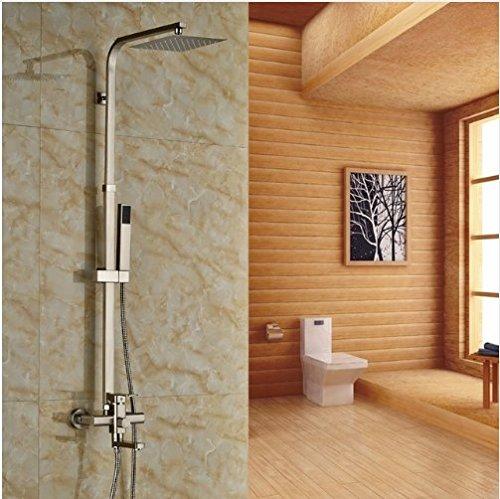 Gowe Nickel Gebürstet Wand montiert Badewanne Wasserhahn 20,3cm Regen Dusche mit Handsprüher (Gebürstetem Nickel Finish Wall)