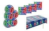 PJ Masks - Kinder Party/Geburtstag / PJMask Motto Party Set/Zubehör / Dekoration- Servietten, Tischdecke, große Teller - 29-teiliges Party Set - Teller Becher Servietten Tischdecke für 8 Kinder