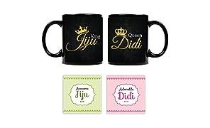 YaYa Cafe King Jiju Queen Didi Mugs with Coaster set of 4