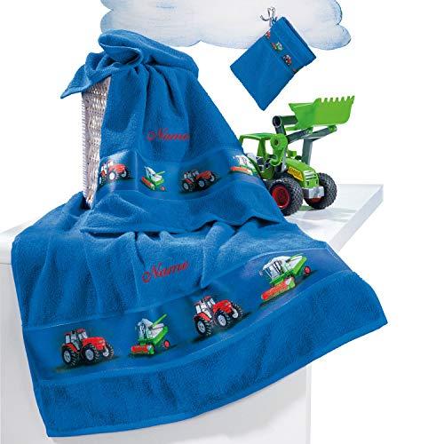 Erwin Müller Kinder Handtuch-Set, Frottier-Set mit Namen, Traktor blau Größe 70x110 cm + 50x70 cm + 15x21 cm - 1 Handtuch, 1 Badetuch, 1 Waschhandschuh - kuschelig weich, saugstark