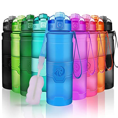 ZORRI Sport Wasserflasche Trinkflasche Bpa Frei Tritan Schule Sportflasche (500ml-17oz, Blau) -