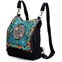 c7cb991f9b Casual Etnica Spalla Laptop Backpack Borsa Di Tela Universitario Zaino Blu Delle  Donne