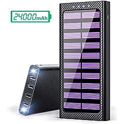 Gnceei Batterie Externes 24000 mAh Power Bank 5.8A 4 Ports Solaire Chargeur Portable avec 3 Entrées (USB C et Micro) et LED Lumineuse pour Smart Cell Phones and Tablet ... ...