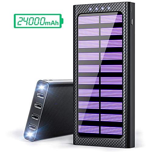 Gnceei Batterie Externes 24000 mAh Power Bank 5.8A 4 Ports Chargeur Portable avec 3 Entrées (USB C et Micro) et LED Lumineuse pour Smartphones, et Autres