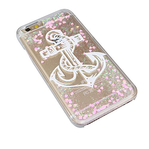 iPhone SE Coque ,iPhone 5S Coque,iPhone 5 Case,EMAXELERS Petite série Pink Heart dur Plastique Transparent Clair Liquide Glitter Bling Sparkles Deux plumes blanches Design Strass Cas Cover Coquille 3D Pink Heart Series 13