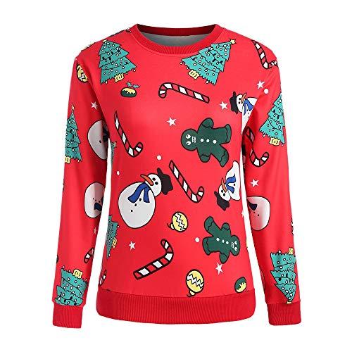 Damen Kapuzenpullover Lange Ärmel Hoodie Pullover Ronamick Mode Frauen O-Ausschnitt Frohe Weihnachten Cartoon Schneemann Weihnachtsbaum Print T-Shirt(S, Rot) - Cartoon Lange T-shirts ärmel