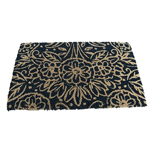 TAG-Floral Kokosmatte, dekorative ganzjährig Matte für die Veranda, Terrasse oder Diele, Kokosfaser, Natural Floral Blue, 40