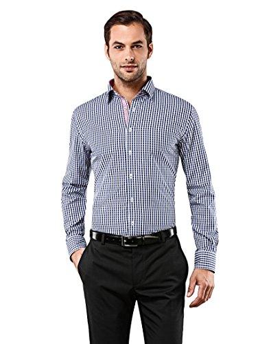 Vincenzo Boretti Herren-Hemd bügelfrei 100% Baumwolle Slim-fit tailliert kariert New-Kent Kragen - Männer lang-arm Hemden für Anzug mit Krawatte Business Freizeit dunkelblau 41/42