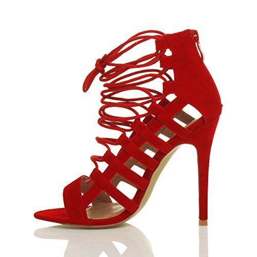 Femmes talon haut à lanières coupé peep toe lacets sandales chaussures pointure Rouge Daim