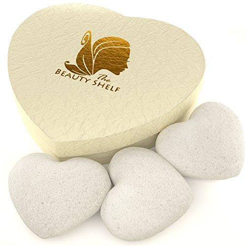 Nettoyage du visage éponge Konjac (lot de 3) – éponges – Forme de cœur pour doux Exfoliant Beauté