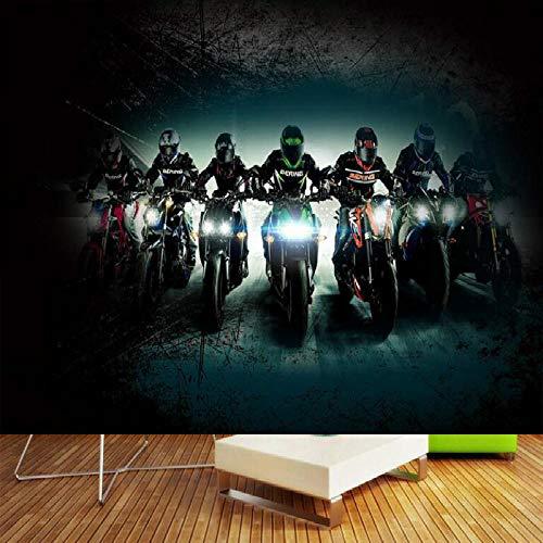MGQSS carta da parati murale poster foto Moto da bar 3D Autoadesivocloruro di polivinile murale dieta Caffetteria negozio ristorante Negozio di abbigliamento annata tema 3D carta da (L)350x(H)256 cm