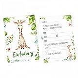 nikima - 5 Einladungskarten Giraffe Dschungel Grün inkl. 5 Transparenten Briefumschlägen Kinder Geburtstag Mädchen Junge Einladung Feier Aquarell Dschungel Tier