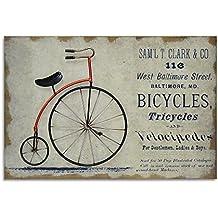 Moycor Decoracón - Cuadro, madera/metal, diseño bicicleta, 60 x 2,5 x 40 cm, color rojo