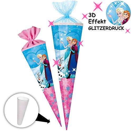 alles-meine.de GmbH Schultüte -  Disney die Eiskönigin - Frozen  - 100 cm - 12 eckig - Organza Abschluß - Zuckertüte - mit / ohne Kunststoff Spitze - Nestler - Mädchen - völlig.. (Fest Disney)