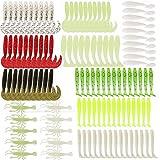 115 x Gummiköder für Gummifische Angeln in 8 Farben in 6 verschiedenen Größen für Barsch,...