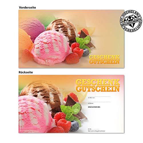 100 hochwertige Gutscheinkarten Geschenkgutscheine. Gutscheine für Eisdiele Eiscafé. Vorderseite hochglänzend. G12017