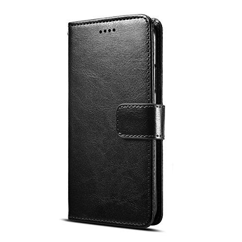 Fertuo HOMTOM S7 Hülle, Leder Flip Case Handyhülle mit Standfunktion, [Kartenfach] [Magnetverschluss] [Silikon Bumper] Schutzhülle Tasche Wallet Cover für HOMTOM S7, Schwarz