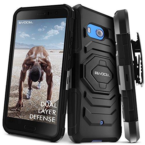 HTC U11Fall, evocel [New Generation] Rugged Holster Dual Layer Case [Ständer] [drehbarem Gürtelclip] für HTC U11(Nicht HTC U11Leben Passen), Schwarz (Belt Clip Case-swivel)