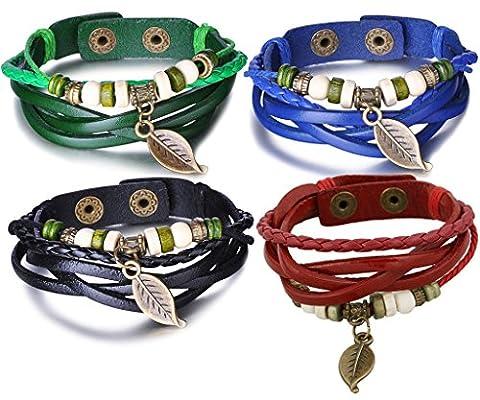 Infinite U Vintage Ethnic Men Women Leather Bracelet Braided Leaf Alloy Charm Bangle Multilayer Wristband, Adjustable Size, Blue/Green/Black/Red