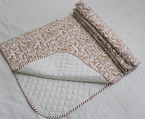 handicraftofpinkcity indian-100-cotton-traditional-kantha-work-hand-block-print-pink-baby-quilt