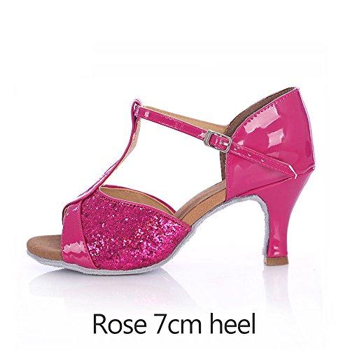 YFF Per adulti di ballo latino le scarpe con i tacchi alti di sala da ballo Tango Salsa red 7cm heel