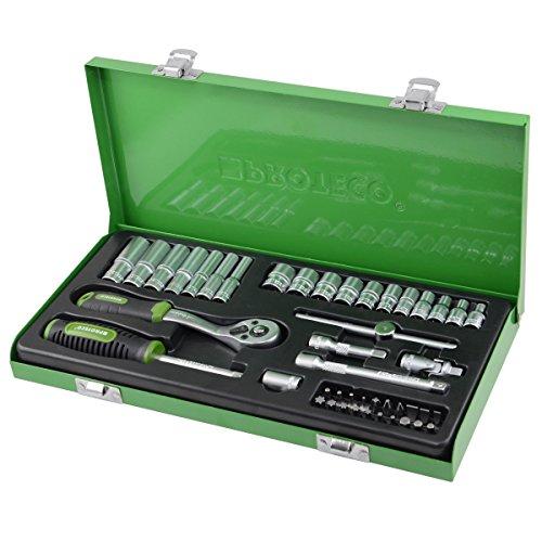 Proteco-Werkzeug® Profi-Steckschlüsselsatz Steckschlüsselkasten 1 4 Zoll 45 Teile Ratschenkasten Knarrenkasten
