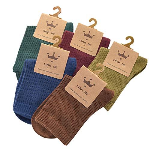 Provide The Best 5 Paar Unisex Newborn Solid Color Cotton Socken Geschenke Baby Einfacher Herbst warme ()