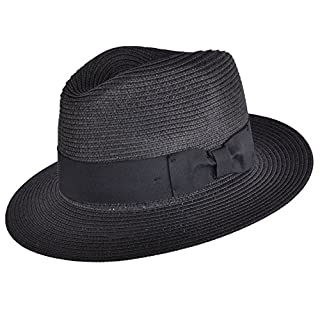 UNISEX PAPER STRAW CRUSHABLE FOLDABLE SUMMER PANAMA FEDORA HAT WITH BAND AND ADJUSTABLE SWEATBAND IN 8 COLOURS (MEDIUM(57CM), BLACK)
