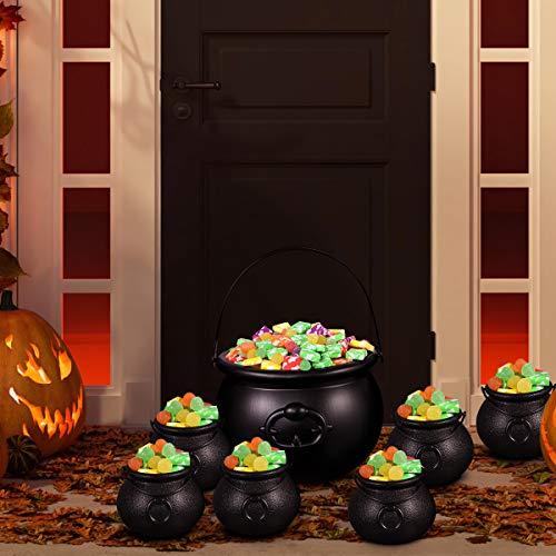 BESTonZON 7 Stück Plastikkessel und 6 Stück Augäpfel, Candy Kessel, Mehrzweck-Neuheit Candy Holder Pot mit Griff für Halloween, St. Patrick's Day Party Favors - 6