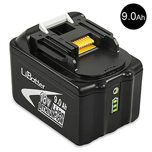 LiBatter BL1890B 18V 9.0Ah Lithium Ersatzakkus für Werkzeug akku Makita BL1850B BL1850 BL1840 BL1830 BL1820 BL1860 BL1890 BL1815 BL1835 BL1845 LXT-400 196399-0 194205-3 194204-5 mit Anzeige